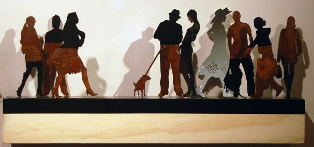 p. 043_ARTEFORTE_Forte Strino_Buonanno Arte Contemporanea_Corrado Zeni_Babel (9 figure)_2010_acciaio e specchio_15x15x100 cm
