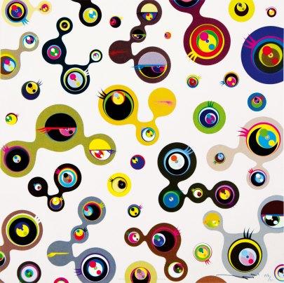 Takashi Murakami, Jellyfish Eyes Cream, 2011 Mixed media print 37/300 cm 50x50