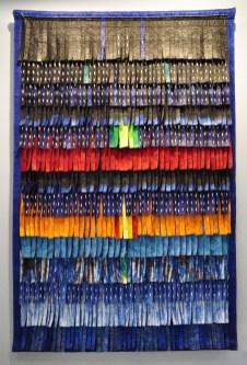 Abdoulaye Konaté, Plumages (blue vert), 2015. Primo Marella Gallery, Milano. ArteFiera 2017