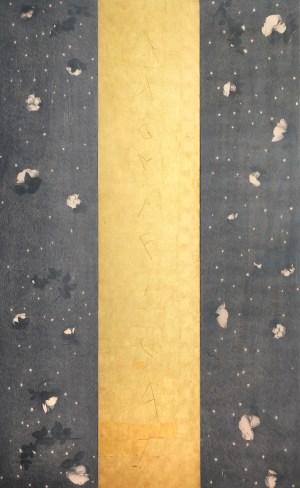 Omar Galliani, Magnificat - Soltanto rose, 2008, grafite e foglia oro su tavola (trittico),cm 210x135 (3 tavole di 210x45 cad.)