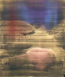 Matteo Montani, The Gate of Dawn, 2017 olio e polveri metalliche su carta abrasiva intel...