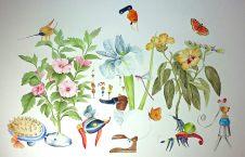 Angelo Maisto, Der Blumenwald ( La Foresta di Fiori ) acquerello su carta, cm 60x70, 2016.