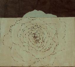Ketty Tagliatti, Costellazione, 2006, ossidi,ricamo e applicazione di garza su tela, cm.169x188