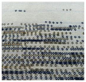 Paulina Herrera Letelier Trigu (2017) Arazzo Lana di pecora e cotone Tessitura al telaio manuale con le tecniche tradizionali sarde pibiones e litzos su disegno dell' (2)