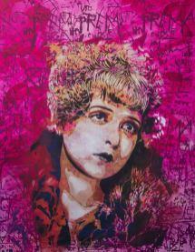 BTOY, The Flapper, Stencil + Screenprint and Acrylic on Canvas, 146x114cm, 2014, Courtesy Traffic Gallery