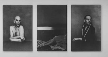 Urs Lüthi, Tableaux Recentes, 1977, Trittico, 3 foto su canvas, cm 110 x 210, Collezione privata Ulrike e Urs Luethi