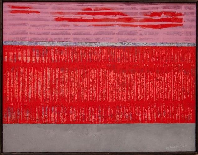 Franco Meneguzzo, Rossi su base grigia, 1962, olio su tela 90x70