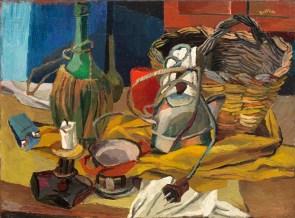 Renato Guttuso: Fiasco, candela e bollitore 1940-41 olio su tela 54x73