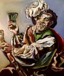 Adriano Annino, Termoclino Brugghen, Suonatore di violino con un bicchiere di vino, 2018, oil on canvas cm 86x101