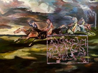 Adriano Annino, Termoclino Gericault, Il derby di Epsom, 2017, olio su tela, cm 92x122,5
