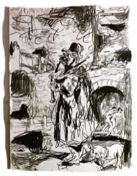 Adriano Annino, Termoclino Gericault, Il suonatore di cornamusa, 2018, graphite on paper 31,4x23,2