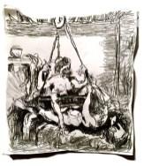 Adriano Annino, Termoclino Pinelli, Incisione erotica da Giulio Roamano, 2018, grafite su carta, cm 25,5 x 23