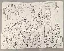 Adriano Annino, Termoclino Pinelli, La predica al Colosseo, 2018, grafite su carta, cm 41x32