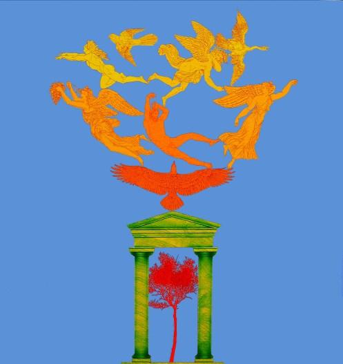 Fernando De Filippi, L'albero del mondo acrilici su tela 100x100, 2004