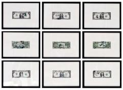 Giulio Cassanelli,Composition of 9 1$ Banknotes #23-31, 2017, guano verde su banconota, 72x110 cm(2)