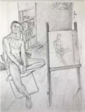 Alberto Torres Hernandez, Model and painting, matita su carta, 28 x 21 cm, 2018