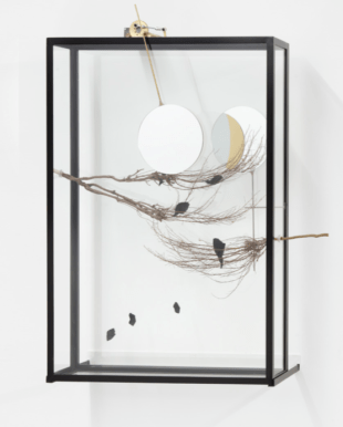 Rebecca Horn, Passing the Moon of Evidence II , 2017 (steel, glass, branches, motor, mirrors, black colored paperboard, brass, elecronic device, 110x87x28 cm.)