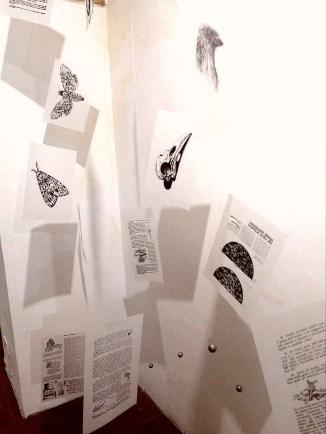 Valeria Gaetani, Memento Homo, dettaglio, carta da lucido, nylon, acciaio, piombi da pesca, 258x213x68, 2018