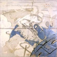 Mario Schifano, Spazio, 1965, smalto e grafite su tela / enamel and graphite on canvas 200 x 200 cm, collezione privata, Courtesy Fondazione Marconi, Milano, © Mario Schifano by SIAE 2018
