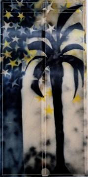 Mario Schifano, Tuttestelle, 1967, smalto e spray su tela e perspex / enamel and spray paint on canvas with perspex 200 x 100 cm collezione privata, Courtesy Fondazione Marconi, Milano © Mario Schifano by SIAE 2018