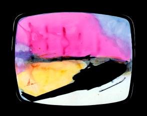 Mario Schifano, Paesaggio TV, 1970, smalto e aniline su tela emulsionata e perspex / enamel, aniline and emulsion on canvas with perspex 114 x 146 cm collezione privata, Courtesy Fondazione Marconi, Milano © Mario Schifano by SIAE 2018