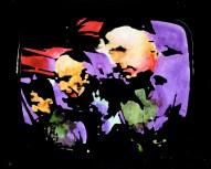 Mario Schifano, Paesaggio TV. Astronauti, 1970, smalto e aniline su tela emulsionata e perspex / enamel, aniline and emulsion on canvas with perspex 74 x 92 cm collezione privata, Courtesy Fondazione Marconi, Milano © Mario Schifano by SIAE 2018