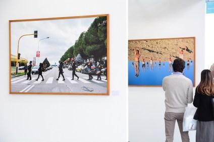 A sinistra: Andreco, La parata della fine 2017. A destra: Virginia Zanetti, I pilastri della terra, 2017