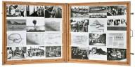 """Il montaggio. Indice, 1975-76 80 x 160 x 50 cm Fotografie su due pagine di """"libro"""" in cassa di legno e vetro Fondazione Baruchello, Roma"""