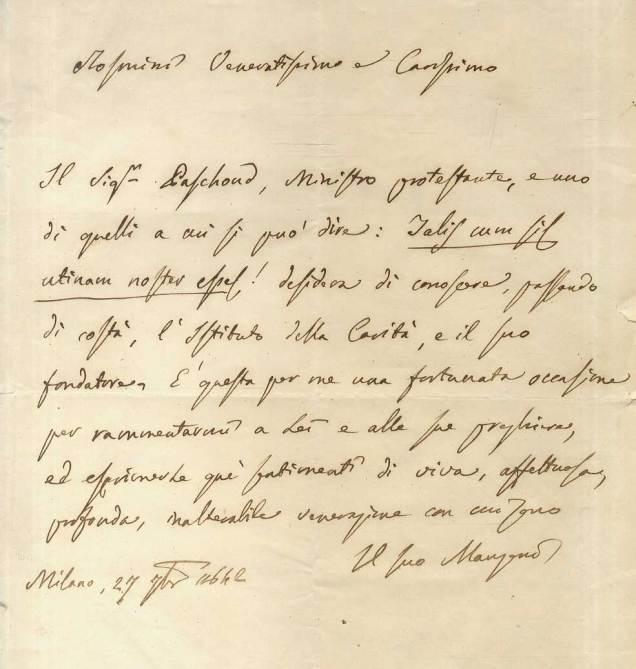 Lettera autografa manoscritta e firmata da Alessandro Manzoni indirizzata ad Antonio Rosmini, datata 27 settembre 1842, Milano (Gozzini Libreria)