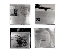 Mauro Pipani, Petroliocitazione a Pasolini per l'opera incompiuta del 92 (2015), 4 tavole 40x40 cm lastre offset incise cartacei con inchiostri, Courtesy the artist