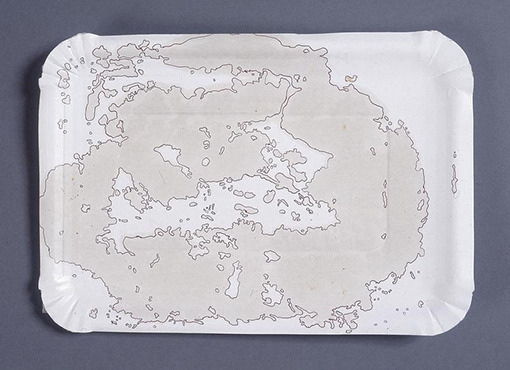 Mona Hatoum, Clouds (16), 2008, oil and ink on cardboard, 16,5x23,5 cm.