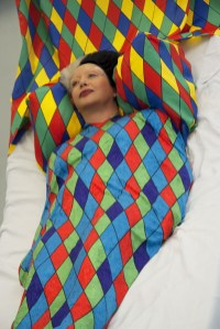 Orlan, ORLAN takes Wing with Harlequin's Diamonds While her Biopsy, 2008. Photograph, C-print on aluminium, 165 x 110 cm