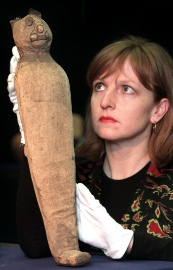 Projects manager Annette Welkamp holds up a mummif