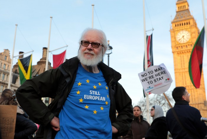 Demonstrators Gather in Parliament Square To Support Guaranteed Legal Status For EU Citizens