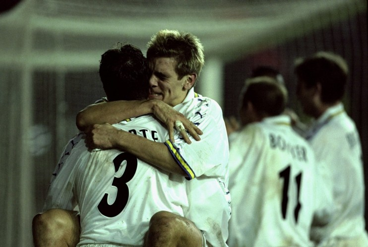 9 Dec 1999: Jonathan Woodgate and Ian Harte of Leeds celebrate Radebe's late goal during the UEFA Cup Third Round Second Leg match against Spartak Moscow played at Elland Road in Leeds, England. The game finished in a 1-0 win for Leeds and saw them progress to the next round via the away goals route. Mandatory Credit: Mark Thompson /Allsport