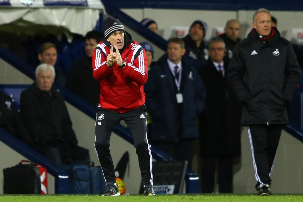 Francesco Guidolin dà indicazioni durante West Bromwich-Swansea. Richard Heathcote/Getty Images