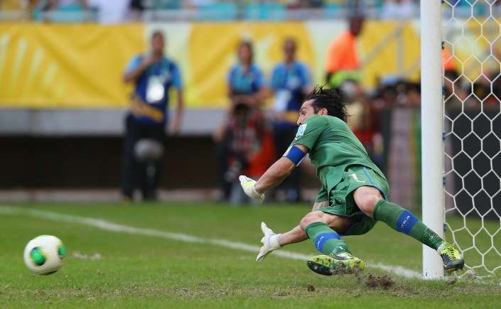 during a shootout during the FIFA Confederations Cup Brazil 2013 3rd Place match between Uruguay and Italy at Estadio Octavio Mangabeira (Arena Fonte Nova Salvador) on June 30, 2013 in Salvador, Brazil. (Photo by Clive Rose/Getty Images)