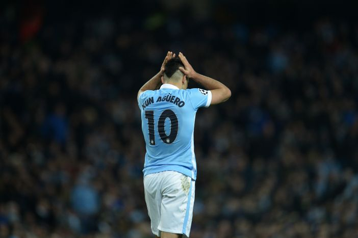 Manchester City's Argentinian striker Sergio Aguero reacts after Manchester City's Spanish midfielder David Silva (not pictured) failed to score from his pass during a UEFA Champions League last 16, second leg football match between Manchester City and Dynamo Kiev at the Etihad Stadium in Manchester, north west England, on March 15, 2016. / AFP / OLI SCARFF (Photo credit should read OLI SCARFF/AFP/Getty Images)