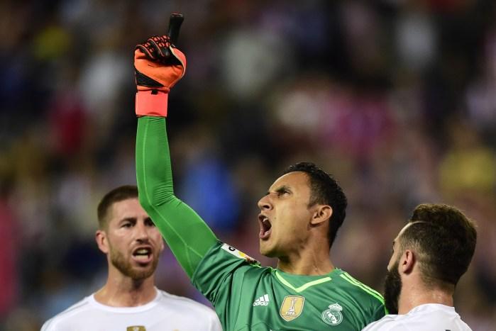 Dopo un rigore parato proprio contro l'Atlético, ottobre 2015 (Javier Soriano/Afp/Getty Images)