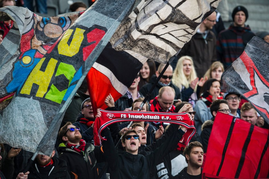 Ingolstadt fans are seen during the German Bundesliga first division football match between Hertha BSC vs FC Ingolstadt 04 in Berlin, Germany, on March 19, 2016. / AFP / ODD ANDERSEN / RESTRICTIONS: DURING MATCH TIME: DFL RULES TO LIMIT THE ONLINE USAGE TO 15 PICTURES PER MATCH AND FORBID IMAGE SEQUENCES TO SIMULATE VIDEO. == RESTRICTED TO EDITORIAL USE == FOR FURTHER QUERIES PLEASE CONTACT DFL DIRECTLY AT + 49 69 650050 (Photo credit should read ODD ANDERSEN/AFP/Getty Images)