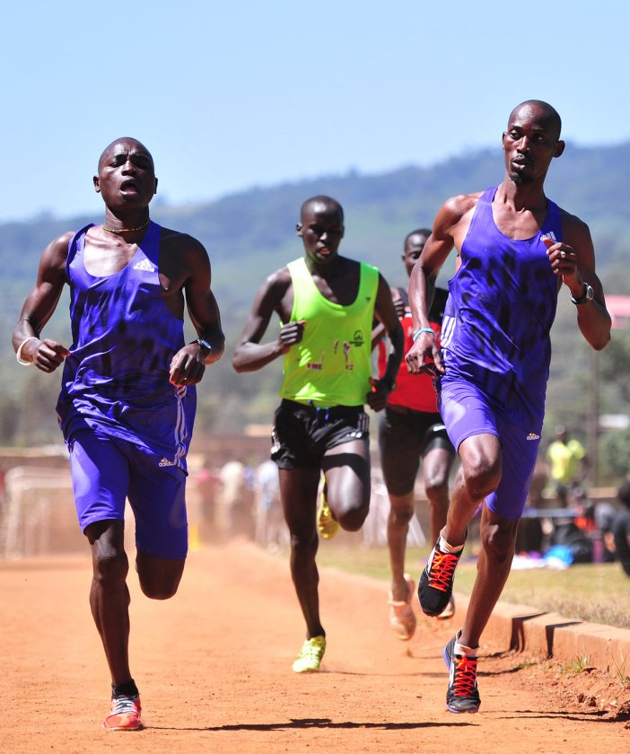 South Sudanese refugees from Kakuma refugee camp train on March 16, 2016 at the Ngong hills outside the capital Nairobi. High up in Kenya's rugged Ngong Hills, refugees sprint around an athletics track in intensive training they hope will see them selected for a unique team for the Rio Olympics. Hand-picked from Kenya's vast refugee camps -- including Dadaab, the biggest in the world -- to join the training camp just outside Nairobi, the athletes here have their eyes set on racing in Rio de Janeiro in August. / AFP / Simon MAINA / TO GO WITH AFP STORY BY AILEEN KIMUTAI (Photo credit should read SIMON MAINA/AFP/Getty Images)