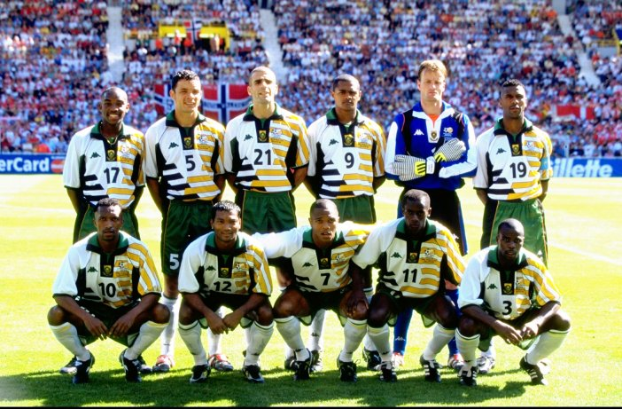 18 Jun 1998: A group photograph of the South African team before the World Cup group C game against Denmark at the Stade Municipal in Toulouse. The match ended 1-1. Mandatory Credit: Ben Radford/Allsport