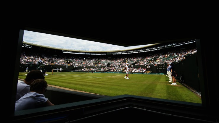 LONDON, ENGLAND - JULY 01: A general view of play on Court Number 1 during the Gentlemens Singles Second Round match between Tommy Haas of Germany and Milos Raonic of Cananda during day three of the Wimbledon Lawn Tennis Championships at the All England Lawn Tennis and Croquet Club on July 1, 2015 in London, England. (Photo by Ian Walton/Getty Images)