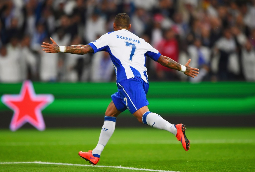 PORTO, PORTUGAL - APRIL 15: Ricardo Quaresma of FC Porto celebrates as he scores their second goal during the UEFA Champions League Quarter Final first leg match between FC Porto and FC Bayern Muenchen at Estadio do Dragao on April 15, 2015 in Porto, Portugal. (Photo by Mike Hewitt/Getty Images)