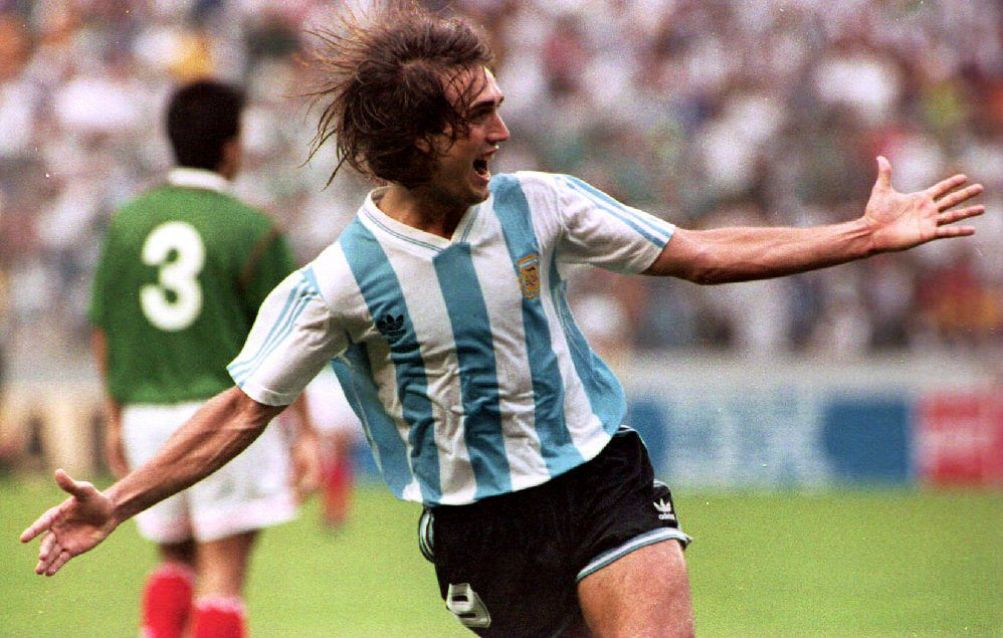 Argentinian soccer player Gabriel Batistuta raises