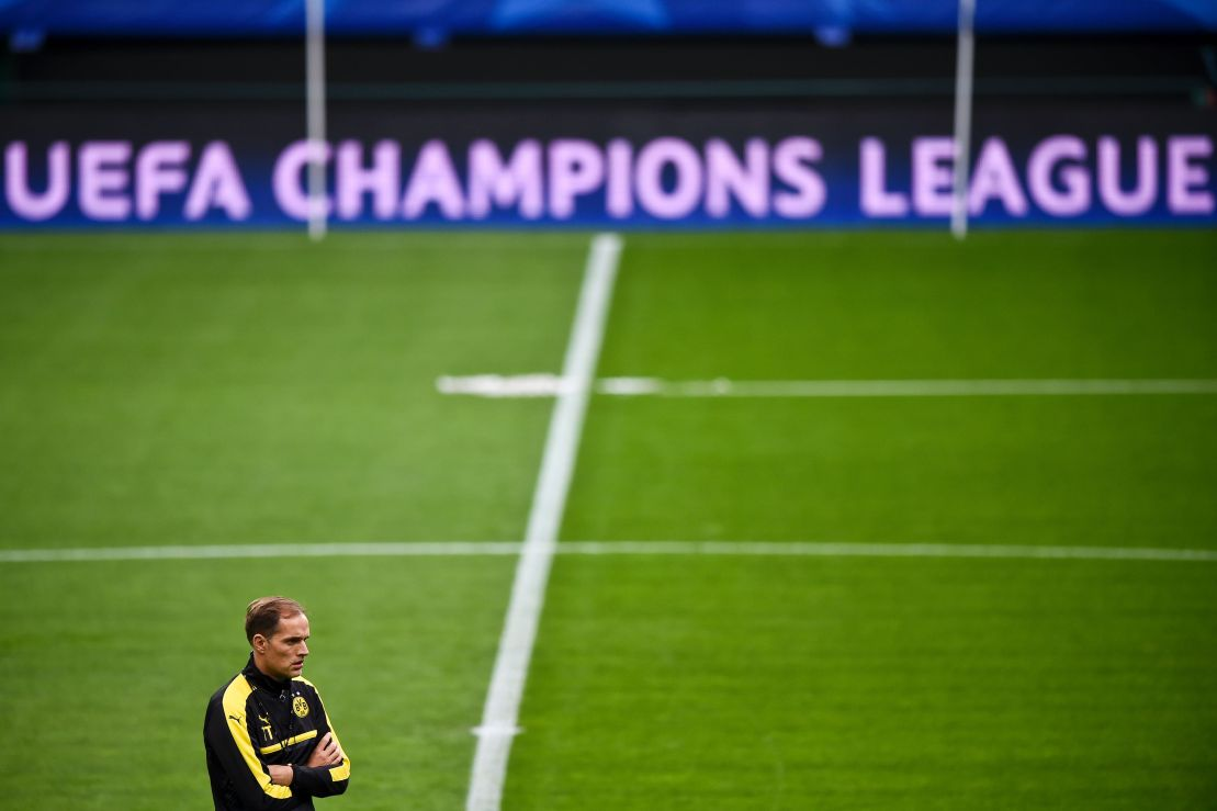 Dortmund's head coach Thomas Tuchel attends a training session at Alvalade stadium in Lisbon on October 17, 2016, on the eve of the UEFA Champions League group F football match Sporting CP vs Borussia Dortmund. / AFP / PATRICIA DE MELO MOREIRA (Photo credit should read PATRICIA DE MELO MOREIRA/AFP/Getty Images)