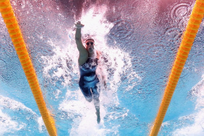 BUDAPEST, HUNGARY - JULY 25: Federica Pellegrini of Italy competes during the Women's 200m Freestyle Heats on day twelve of the Budapest 2017 FINA World Championships on July 25, 2017 in Budapest, Hungary. (Photo by Adam Pretty/Getty Images)