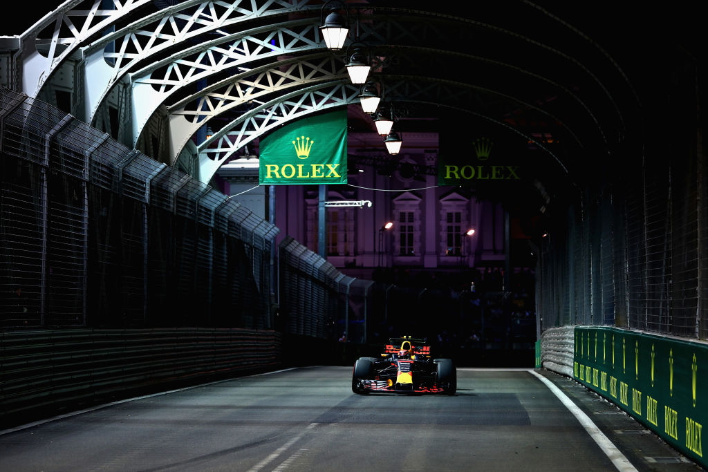 SINGAPORE - SEPTEMBER 15: Max Verstappen of the Netherlands driving the (33) Red Bull Racing Red Bull-TAG Heuer RB13 TAG Heuer on track during practice for the Formula One Grand Prix of Singapore at Marina Bay Street Circuit on September 15, 2017 in Singapore. (Photo by Lars Baron/Getty Images)