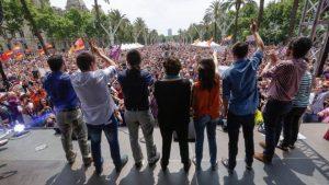 Comizio di Iglesias, Garzon e Ada Colau a Barcellona, sabato 11 giugno