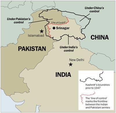 Una mappa del Kashmir